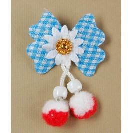 Мартеница цвете от плат - каре, с помпони и мъниста