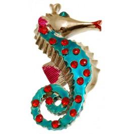Сувенирна фигурка с магнит - морско конче, декорирано с цветни камъни