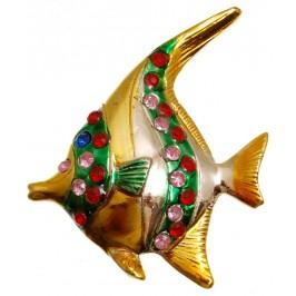 Сувенирна фигурка с магнит - рибка, декорирана с цветни камъни