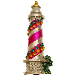 Сувенирна фигурка с магнит - фар, декориран с цветни камъни