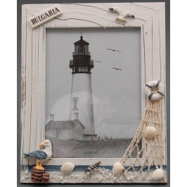 Декоративна дървена рамка за снимки, красиво декорирана с чайка ,мрежа и надпис България