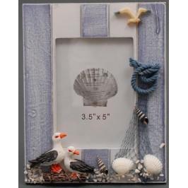 Декоративна дървена рамка за снимки, красиво декорирана с чайки и мрежа