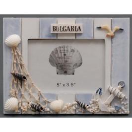 Декоративна дървена рамка за снимки, красиво декорирана с морски елементи и надпис България