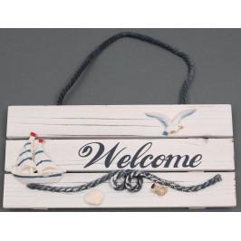 Сувенирна дървена табела - с надпис Welcome, и морска декорация
