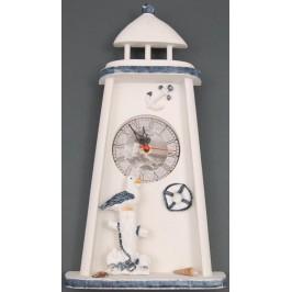 Сувенирен дървен часовник- фар, красиво декориран с морски мотиви