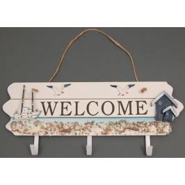Сувенирна дървена закачалка - с надпис Welcome, и морска декорация