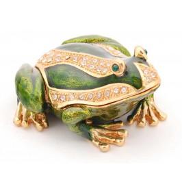 Метална декоративна кутия за бижута във формата на жаба - фаберже с камъни