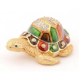 Стилно декорирана декоративна кутийка за бижута във формата на костенурка - фаберже