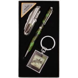 Луксозен подаръчен комплект от химикал, ключодържател и швейцарско ножче, декорирани с камуфлажна шарка