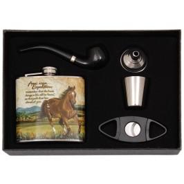 Сувенирна метална манерка в комплект с декоративна чаша, дозатор, лула и ножче за пури