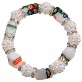 Елегантна гривна от цветни камъни и декорации на ластична основа - бяла
