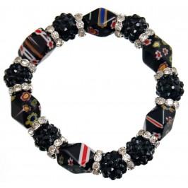 Елегантна гривна от цветни камъни и декорации на ластична основа - черна