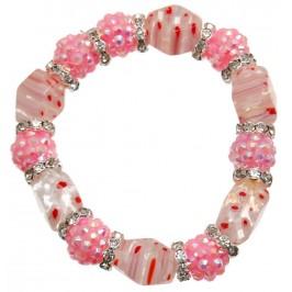 Елегантна гривна от цветни камъни и декорации на ластична основа - розова