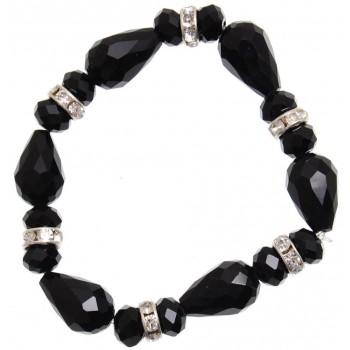 Елегантна гривна от декоративни камъни и рингове с бели камъчета на ластична основа - черна