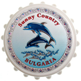 Сувенирна отварачка с магнит - капачка - два делфина