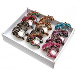 Дамски ръчен часовник с елегантен дизайн - хамелеон, декориран с цветни камъни