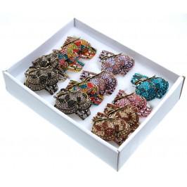 Дамски ръчен часовник с елегантен дизайн - пеперуда, декориран с цветни камъни