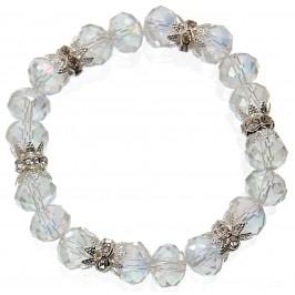 Красива гривна от декоративни стъклени камъни и рингове с бели камъчета на ластична основа - бяла