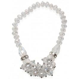 Красива гривна от декоративни стъклени камъни и два ринга с бели камъчета на ластична основа -бяла