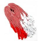 Материали за мартеници - прежда усукана бяло и червено с пискюли накрая