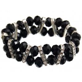 Красива гривна от декоративни стъклени камъни и ринг с бели камъчета на ластична основа - черна
