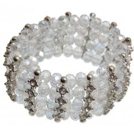 Красива гривна от декоративни стъклени камъни и бели камъчета на ластична основа - бяла
