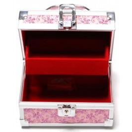 Стилна кутия за бижута, изработена от метал и декорирана с брокат