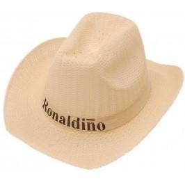 Плетена лятна каубойска шапка, декорирана с текстилен кант с надпис Роналдиньо