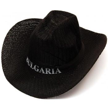 Плетена лятна каубойска шапка, декорирана с текстилен кант с надпис България