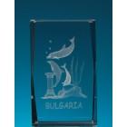 Безцветен стъклен куб с триизмерно гравирани делфини
