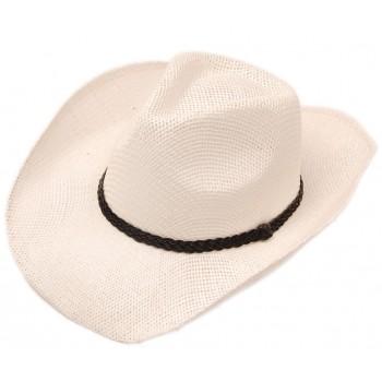 Плетена сламена каубойска шапка, декорирана с кожен кант