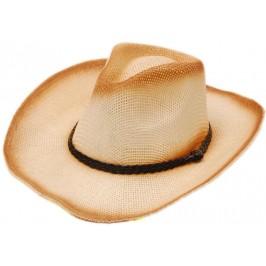 Плетена сламена каубойска шапка, декорирана с кожена лента