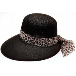 Лятна дамска плетена шапка с периферия - черна