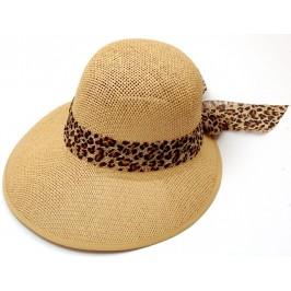 Лятна дамска плетена шапка с периферия - кафява