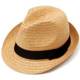 Красива плетена шапка с периферия извита нагоре - кафява
