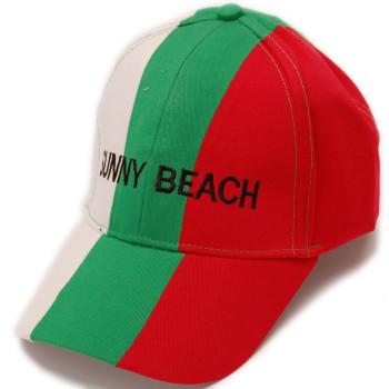 Мъжка спортна шапка с козирка в цветовете на българския трикольор