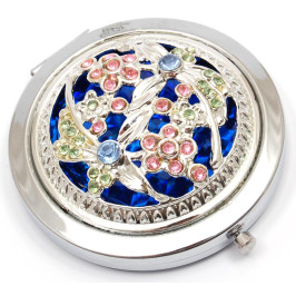 Сувенирно джобно огледало метал с декоративно капаче, декорирано с цветни камъни