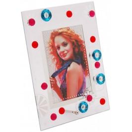 Стъклена рамка за снимка, красиво украсена орнаменти и цветни камъни