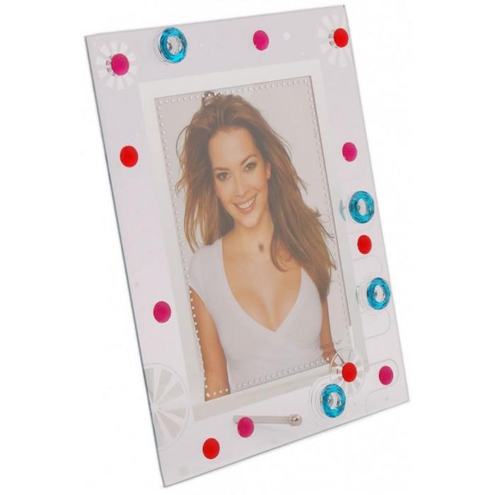 Стъклена рамка за снимка, декорирана с красиви орнаменти и цветни камъни