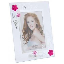 Стъклена рамка за снимка, красиво украсена с флорални орнаменти и цветни камъни