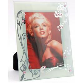 Стъклена рамка за снимка, красиво украсена с флорални мотиви