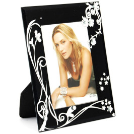 Стъклена рамка за снимка, красиво украсена с флорални мотиви и бели камъни