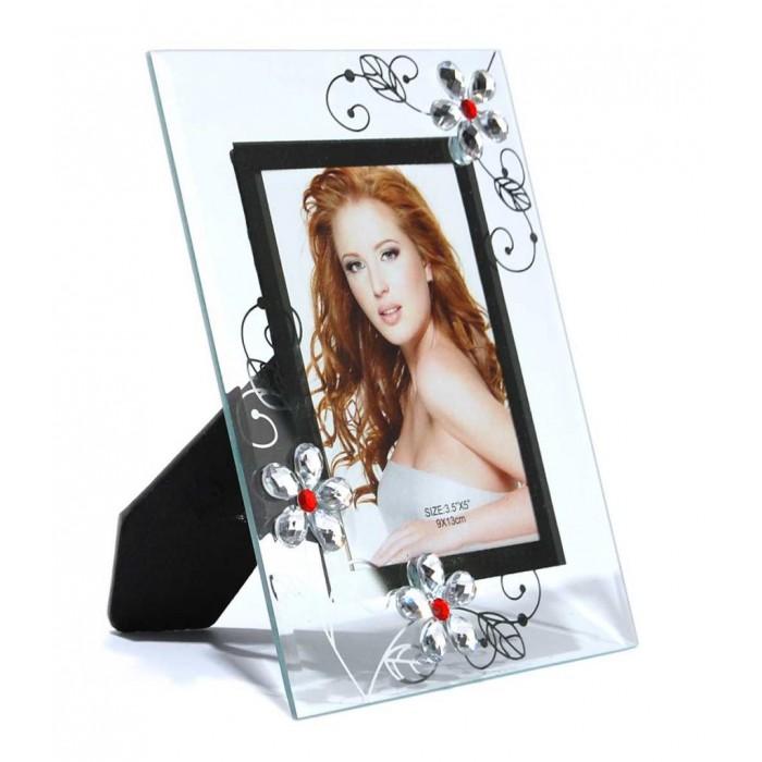 Стъклена рамка за снимки, красиво украсена с флорални мотиви и цветни камъни