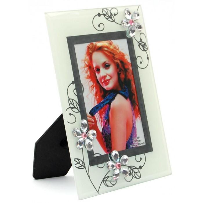 Стъклена рамка за снимка, красиво украсена с флорални мотиви и камъни