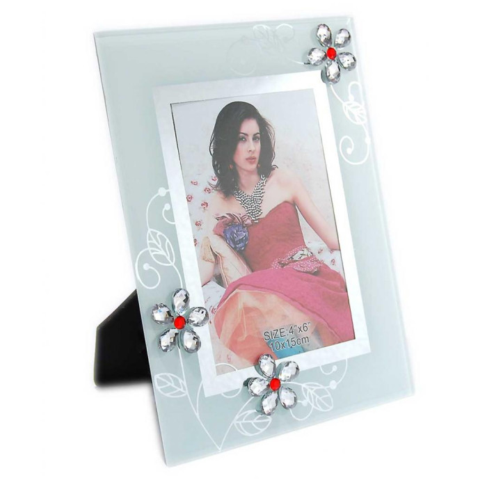 Матирана стъклена рамка за снимки, красиво украсена с флорални мотиви и цветни камъни