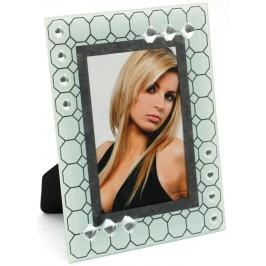 Стъклена рамка за снимка, красиво украсена с орнаменти и бели камъни
