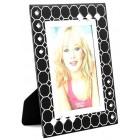 Стъклена рамка за снимка, красиво украсена орнаменти и бели камъни