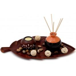 Красив свещник - поставка със свещ, вазичка за ароматни пръчки, декоративни дървени топки, цветни камъчета и чиния - листо
