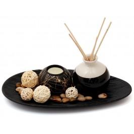 Красив свещник - поставка със свещи, вазичка за ароматни пръчки, декоративни дървени топки и пръчици, цветни камъчета и чиния - ладия
