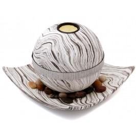 Сферичен свещник с поставка чиния, свещ и декоративни камъчета